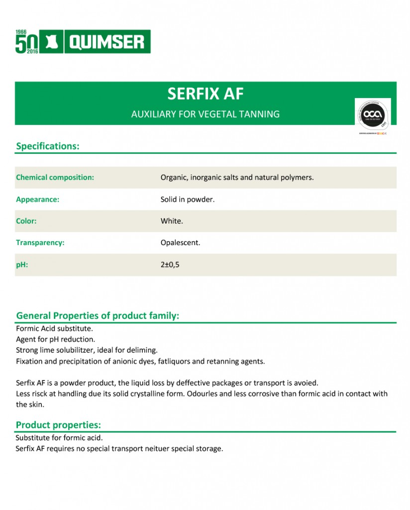 Serfix-AF. Auxiliary for vegetable tanning