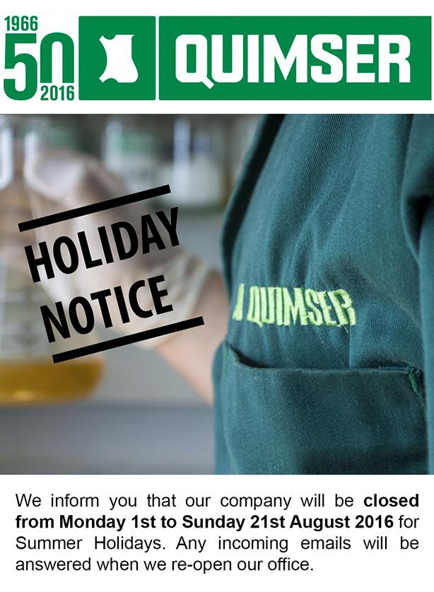 Summer Holiday Notice