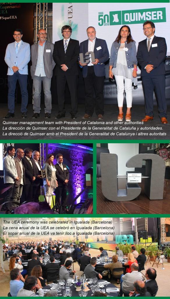 Quimser SA won the Enterprise Trajectory Award from the Anoia Entrepreneurs Association (UEA)
